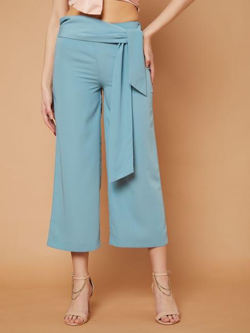 Marquee Blue Tie Waist Wide Leg Pants