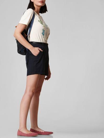 Dark Blue Mid Rise Chino Shorts