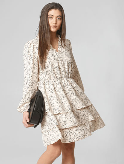 Beige Tiered Fit & Flare Dress