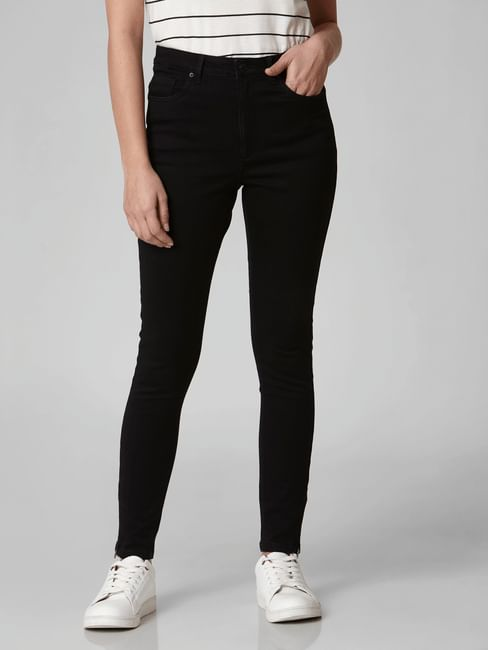 Black High Rise Ankle Zip Skinny Jeans