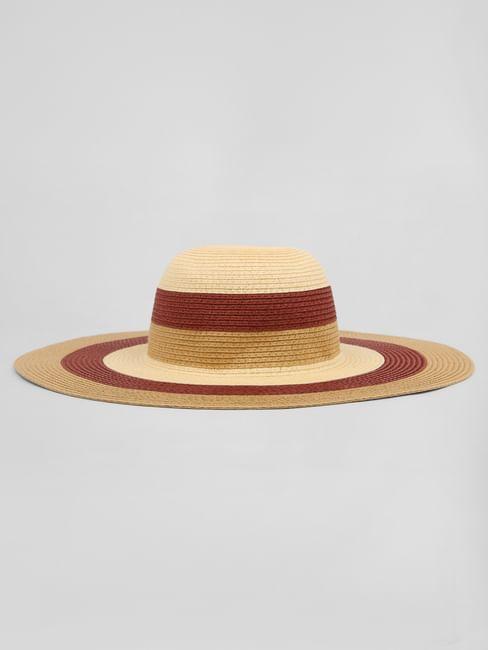 Beige Wide Brimmed Straw Hat