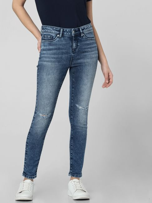 Blue Mid Rise Knee Ripped Skinny Fit Jeans