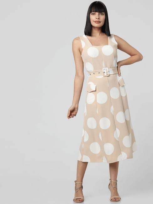 Beige Polka Dot Midi Dress