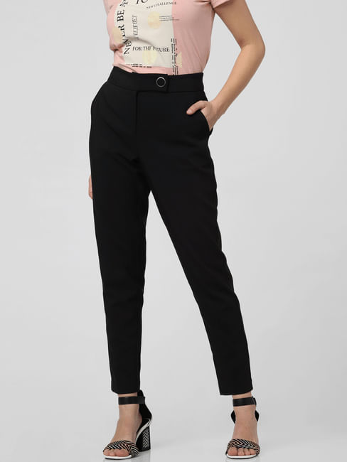 Black High Rise Slim Fit Trousers