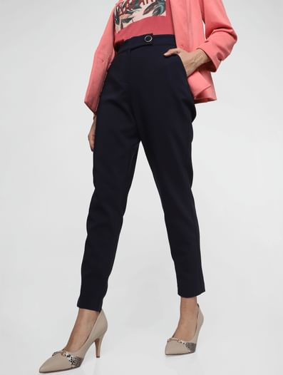 Navy Blue High Rise Slim Fit Trousers