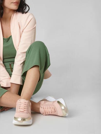 Pink Snakeskin Print Sneakers