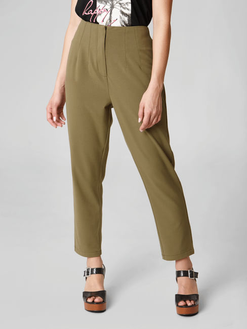 Olive High Rise Trousers