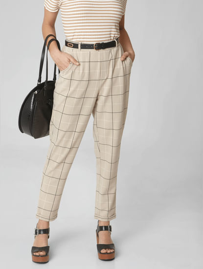 Beige Mid Rise Check Pants