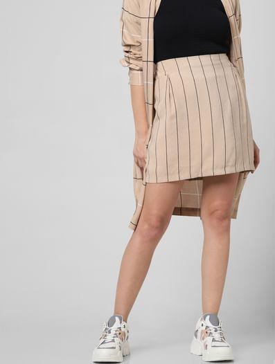 Beige High Rise Striped Skirt