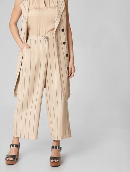 Beige Mid Rise Striped Culottes