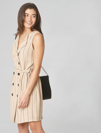 Beige Striped Tailored Waistcoat
