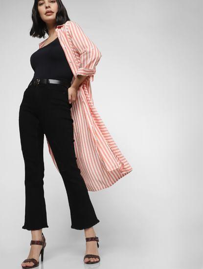 Black Mid Rise Frayed Hem Bootcut Jeans