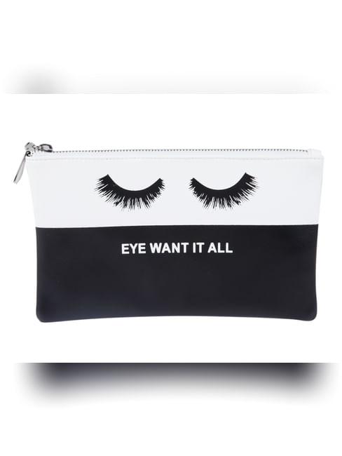 Black Slogan Print Makeup Pouch