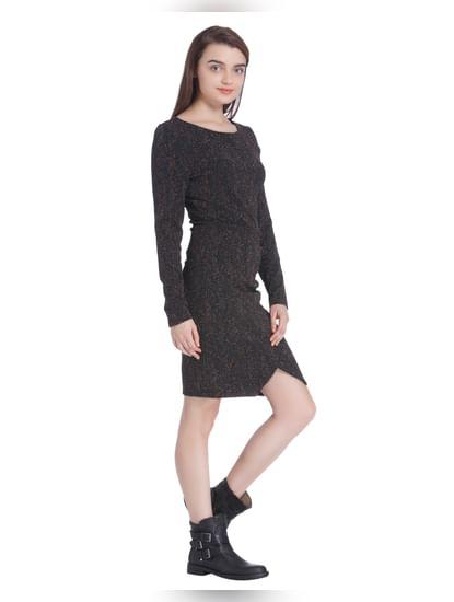 Black Self Design Bodycon Dress