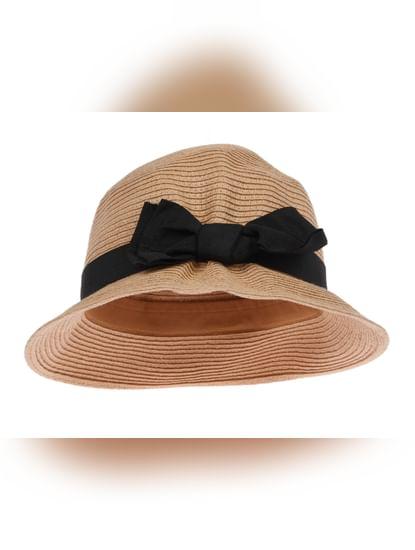 Beige Bow Detail Hat