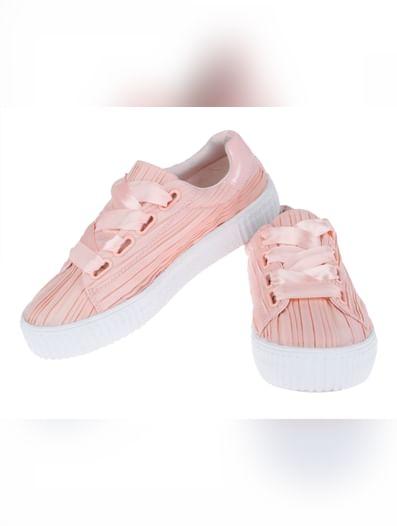 Pink Satin Sneakers