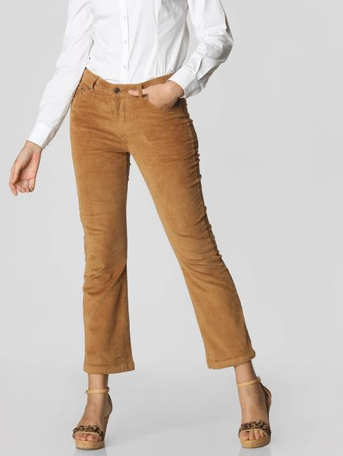 Brown Mid Rise Corduroy Flared Pants