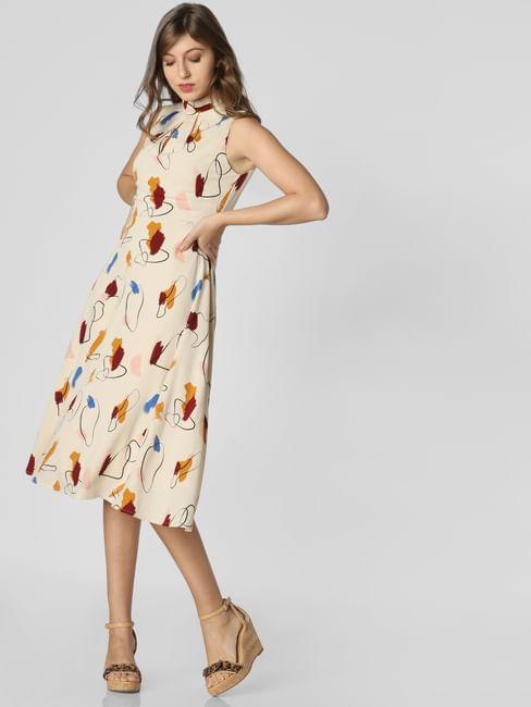 Beige All Over Print Midi Dress