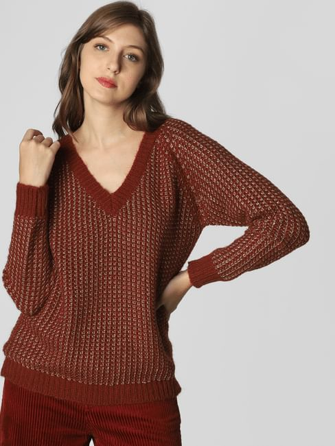 Dark Brown Textured Pullover