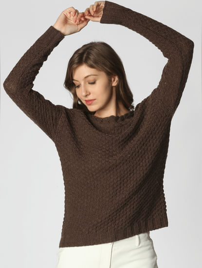 Chocolate Brown V-Back Pullover
