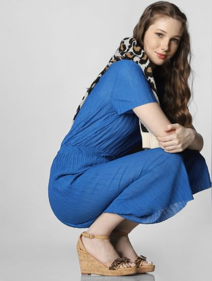 Blue Crepe Culottes