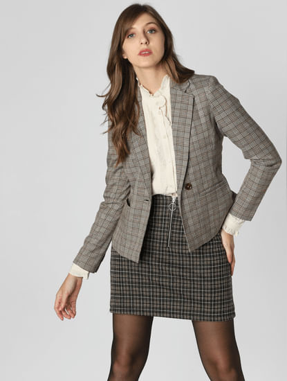 Grey Check Formal Blazer