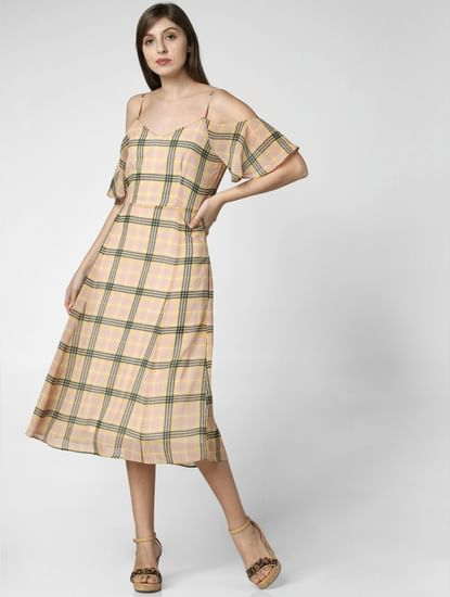 Yellow Check Midi Dress