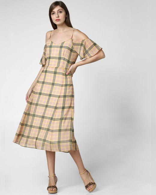 Yellow Check Midi Dress