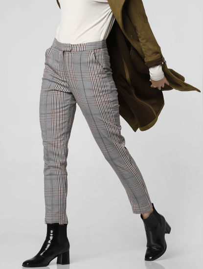 Grey Mid Rise Check Pants