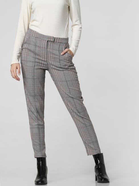 Grey Mid Rise Check Pants
