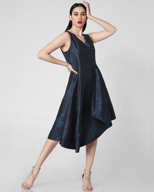 Blue Jacquard Asymmetric Dress