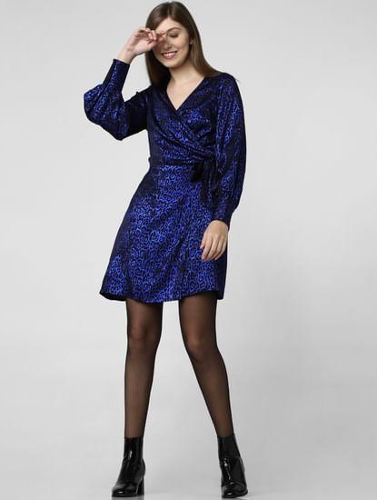 Blue Animal Print Wrap Dress