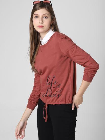 Brown Slogan Print Sweatshirt
