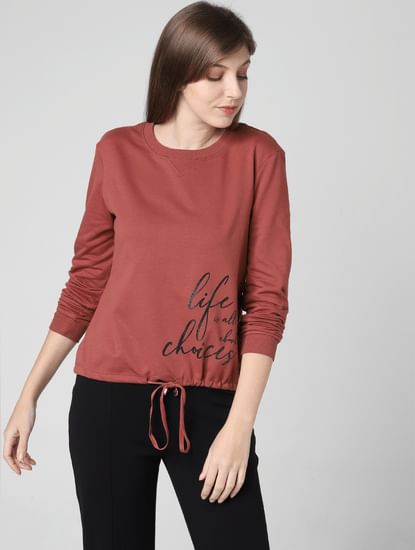 Brown Slogan Print Sweatshirt