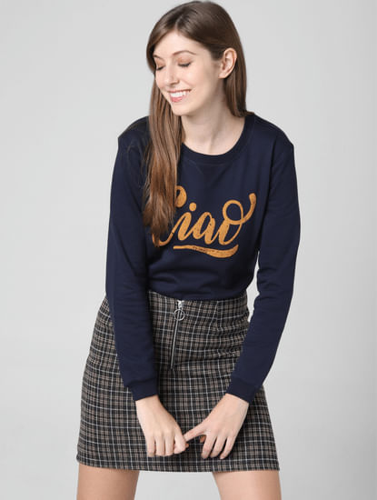 Navy Blue Ciao Print Sweatshirt
