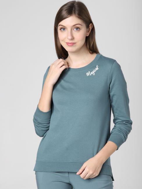 Blue Text Print Sweatshirt