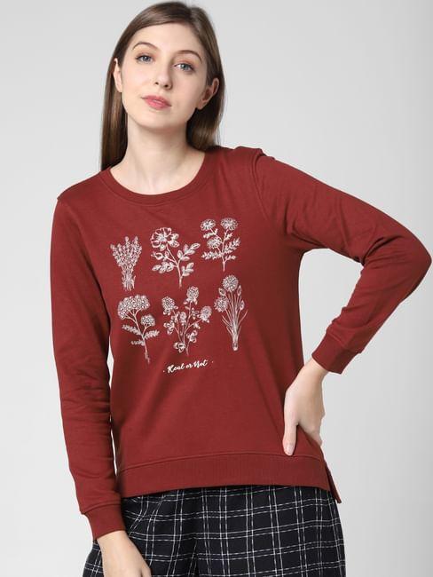 Brown Floral Print Sweatshirt