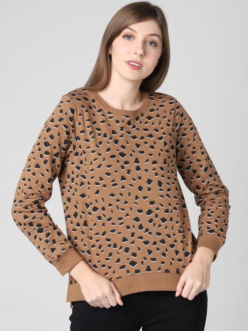 Brown All Over Print Sweatshirt