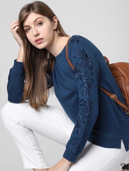 Blue Floral Embroidered Sweatshirt