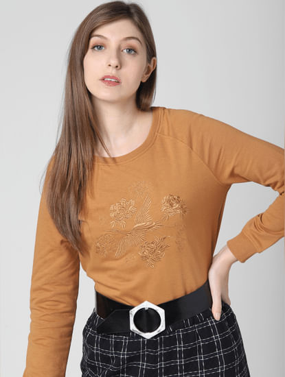 Light Brown Embroidered Sweatshirt