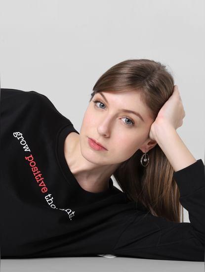 Black Text Print Sweatshirt