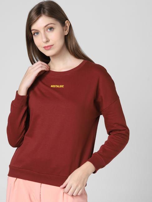 Brown Nostalgic Print Sweatshirt