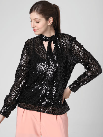 Black Sequined Bow Top
