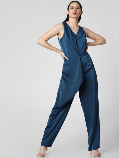 Blue Overlap Satin Jumpsuit