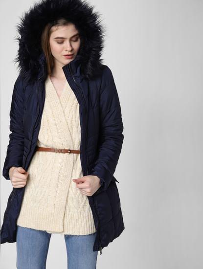Navy Blue Fur Hooded Long Coat
