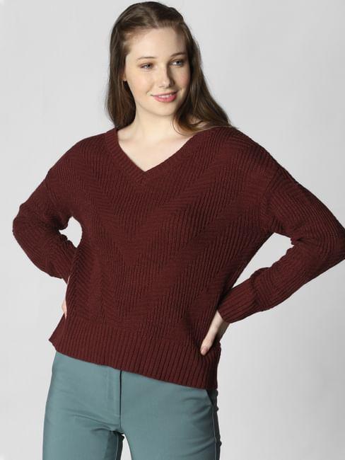 Burgundy V Neck Pullover