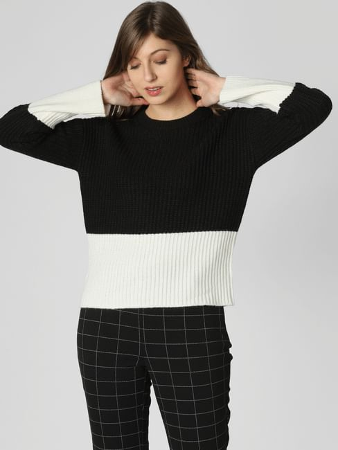 Black Colourblocked Ribbed Pullover