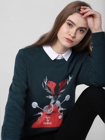 Dark Green Reindeer Print Sweatshirt