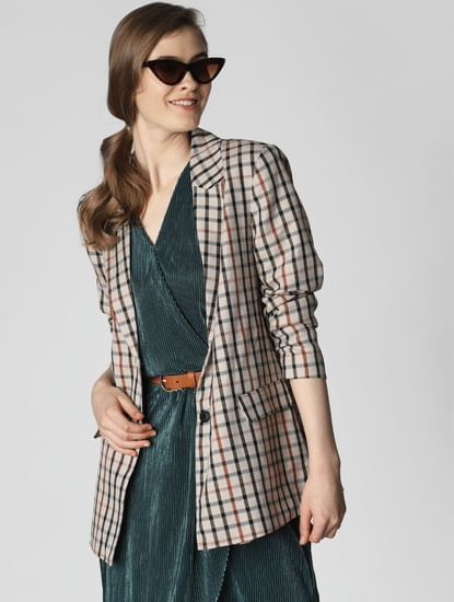 Brown Check Belted Blazer