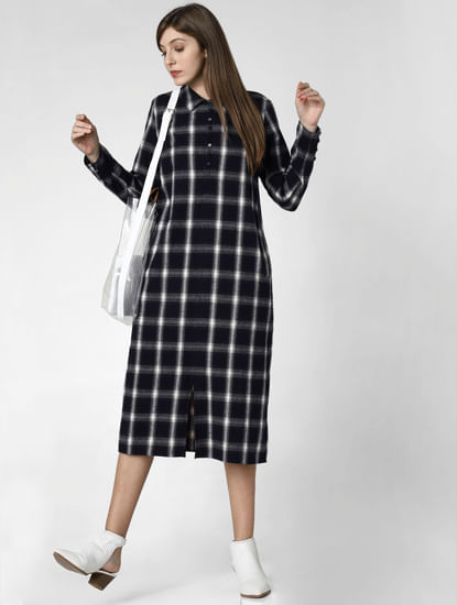 Navy Blue Check Midi Dress